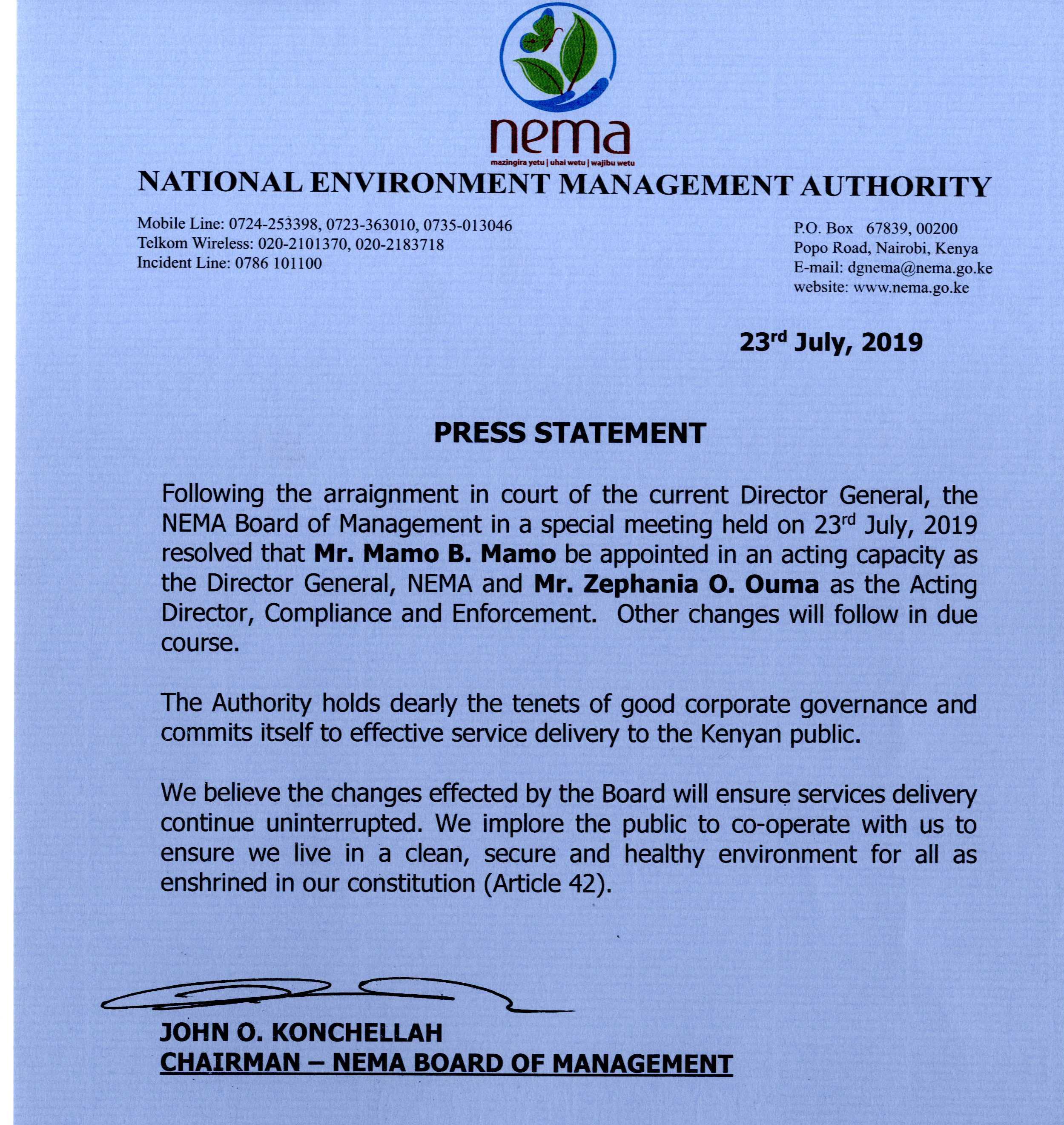 Nema press statement
